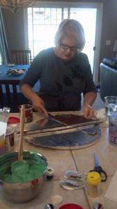 decorating the serving platter