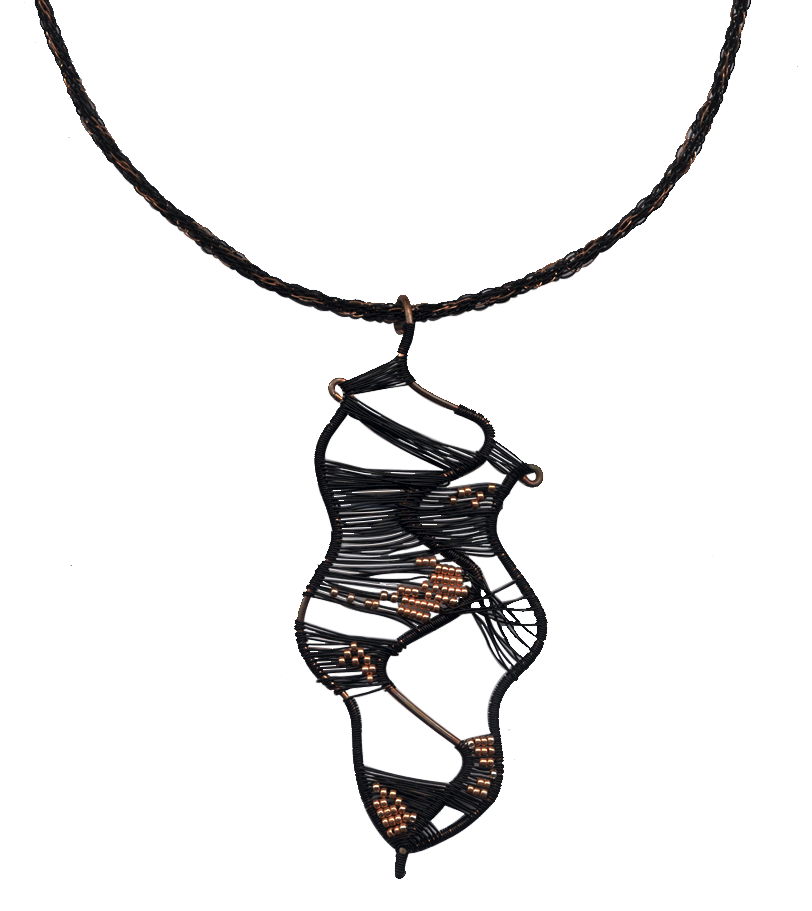 Woven wire, copper beads, wire kumihimo