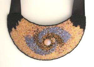 Spiral galaxy_ seed bead emroidery, satin strap