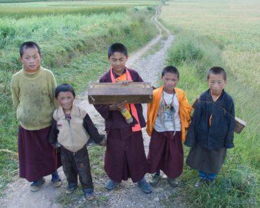 Children with manuscript box
