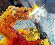 dragon cake breathing fire